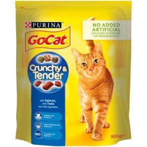 GO-CAT Crunchy & Tender Salmon, Tuna & Vegetable, 800g