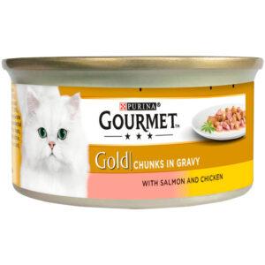 GOURMET Gold Salmon & Chicken in Gravy Can, 85g