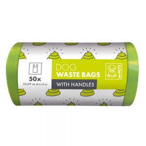 M-PETS Waste Bags with Handles Green, 50 Pack