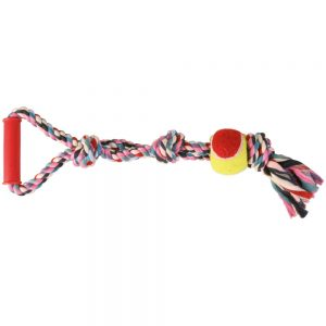 TRIXIE Denta Fun Rope & Tennis Ball With Handle, 50cm