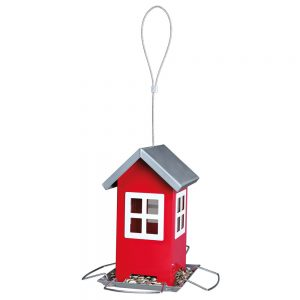 TRIXIE Bird Feeder, 1000ml, 19x20x19cm Red & Silver