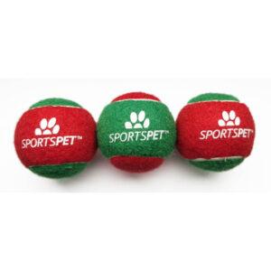 SPORTSPET Xmas Tennis Ball Red&Green, 6.5cm