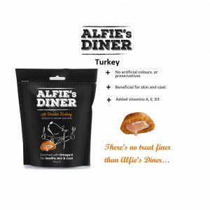 ALFIE'S DINER Turkey Flavoured Dog Treat with Omega-3, 100g
