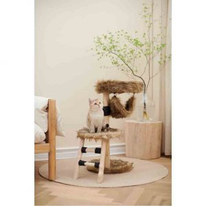BLUE PAW 2-Tier Cat Tree Plush Brown with Ladder, 40x40x80cm