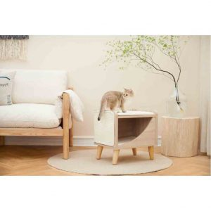BLUE PAW Cat Cave with Cushion on Wooden Legs, 50x40x48cm