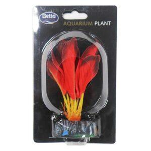 BETTA Silk Red Plant for Aquarium, 13cm