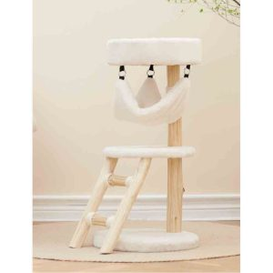 BLUE PAW 2-Tier Cat Tree Cream with Ladder and Hammock,  40x40x80cm
