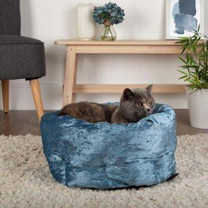 SCRUFFS Velvet Cat Bed, Blue